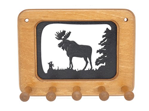 NH Made Wooden Silhouette Key Holder Key Rack Key Hook - Moose made in New England