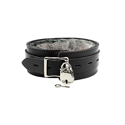 Atlas Collar Handcrafted Premium Latigo Leather Luxurious Fur Choker (Jet Black, Large)
