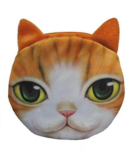 Comic Katze rot weiß getigert große Augen Geldbörse rund