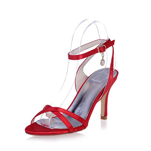 02 Clearbridal Pumps ZXF9920 Heels Wedding with Open Shoes Evening Sandal Women's Red Pearls Buckle Satin Bridal Toe Prom aZwz8aCrqx