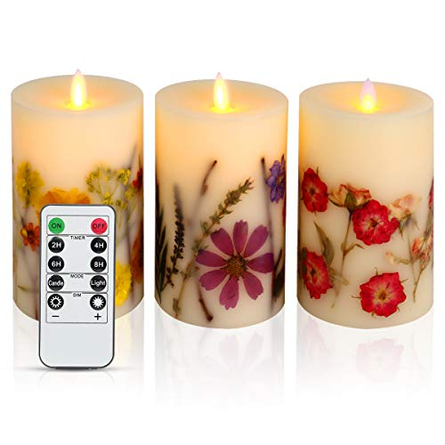 (KitchenGynti Flameless Candles, LED Candles 5'' Set of 3 Pillar Dried Flower Candles, Real Wax Pillar Candles with Dancing/Flickering LED Flames and 10 Key Remote Control for Kitchen)
