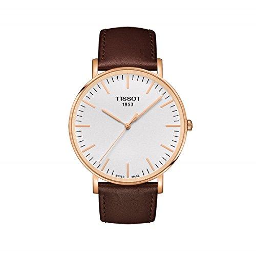Tissot-Tissot-Everytime-T1096103603100-White-Brown-Leather-Analog-Quartz-Mens-Watch