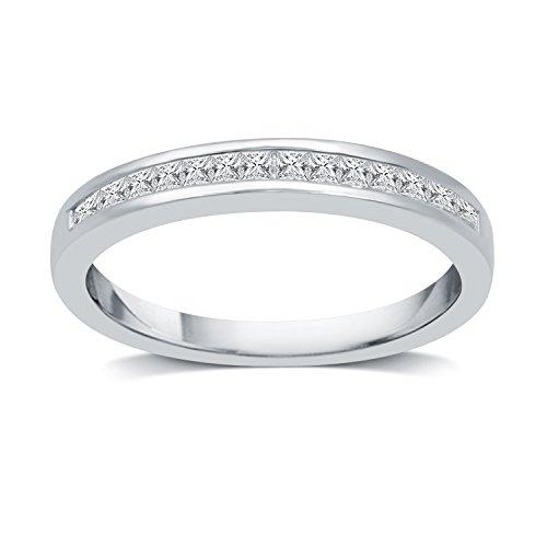 DeCarat 1/4 CT.T.W. Diamond 10K White Gold Princess Wedding Band Ct Tw Princess Diamonds Band