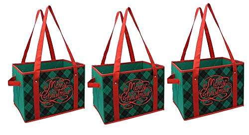 Earthwise Reusable Grocery Bag Box Shopping Xmas Christmas Plaid Design Deluxe COLLAPSIBLE Gift Basket Bag (Set of 3)