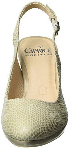 Caprice 29607, Sandalias con Cuña para Mujer Beige (Beige Reptile)