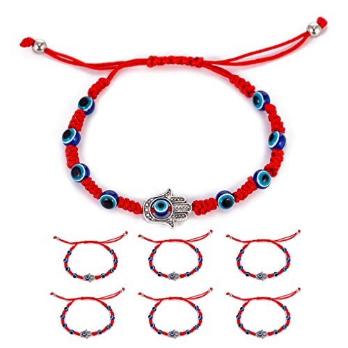 6pcs Evil Eye Hamsa Hand String Kabbalah Bracelets for Protection and Luck Hand-Woven Red Black Cord Thread Friendship Bracelet Anklet (Red: Hand)