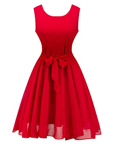 Angerella Women's Retro Vintage Dresses Chiffon Evening Wedding Party Dress