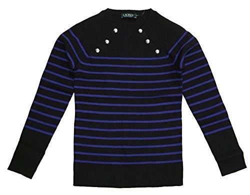 LAUREN RALPH LAUREN Petite Striped Crew Neck Raglan Sweater (PM, ()