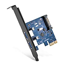 UGREEN PCI-E to USB 3.0 2 Port PCI Express Expansion Card with 15 Pin Power Cable for Descktops Super Speed Up to 5Gbps