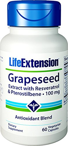 Life Extension Grapeseed Extract with Resveratrol and Pterostilbene 100 MG, 60 Vegetarian - Extract Grape Extension Life Seed