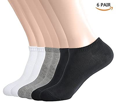 Womens Ankle Low Cut No Show Athletic Socks, Casual Short Cotton Sneaker Socks 6 Pack