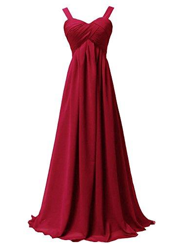Robes De Bal Xingmeng Chérie Longue Robes De Soirée Robe De Demoiselle D'honneur En Mousseline De Soie Rouge Foncé