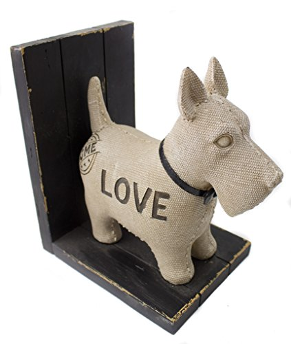 Dog Bookend Scottie or Terrier Wood Resin Love -