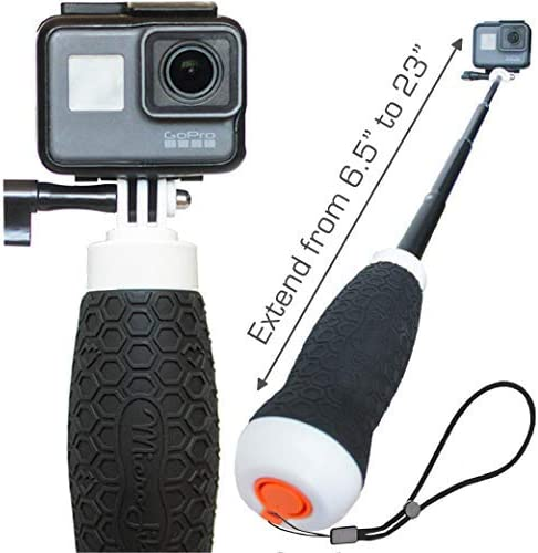 Amazon Com Extendable Gopro Floating Hand Grip Waterproof Camera Pole Mount 6 5 23 For Hero 9 8 7 6 5 4 Session And Max Flow By Microjib Camera Photo