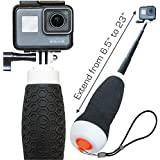"""Extendable GoPro Floating Hand Grip + Waterproof Camera Pole Mount 6.5-23"""" (for Hero 8, 7, 6, 5, 4 Session and MAX…"""