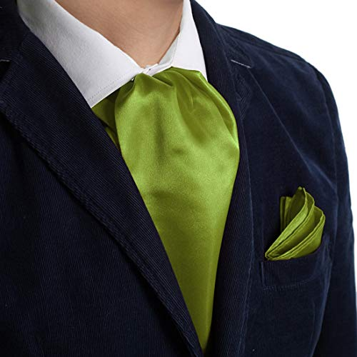 Dan Smith DRC1E01M Yellow Green Plain Microfiber Elegant Presents Ascot and Matching Handkerchief