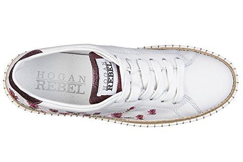 Hogan Rebel scarpe sneakers donna in pelle nuove r260 fiorui ciliegio bianco