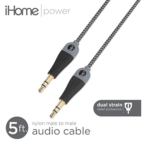 iHome - 5' Double Injected Nylon Audio Cable with Enhanced Strain Relief (3.5mm Male-Male) (Black)