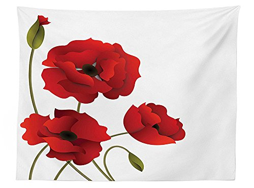 vipsung Floral Tablecloth Decor Poppy Flowers Bright Petals with Buds Pastoral Purity Mother Earth Nature Design Rectangular Table Cover for Dining Room Kitchen Red (Butterfly Tie Dye Bandana)