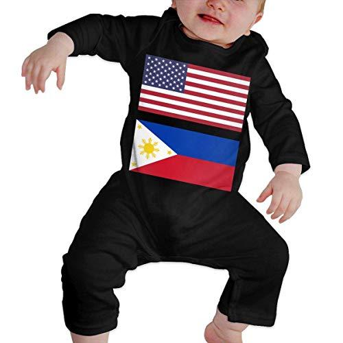 Baby Girl Long Sleeve Jumpsuit United States Flag & Philippines Flag-1 Toddler Jumpsuit Black]()