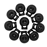 Hysagtek 50pc Plastic Round Spring Toggles Stoppers Cord Locks End for Draw String Bags Paracord Cords