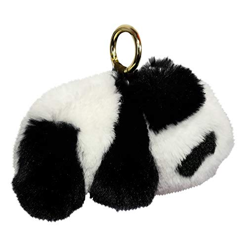 - REAL SIC Fluffy Animal Pom Pom Keychain - Faux Fur Fuzzy Charm For Women & Girls. Fake Rabbit Key Ring for Backpacks, Purses, Bags or Gifts (Panda)