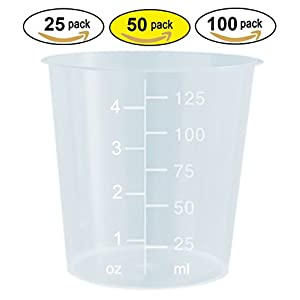 4oz Graduated Transparent Polypropylene Plastic Cups for Mixing Epoxy, Resin, Paint, and Stain - 50 Count