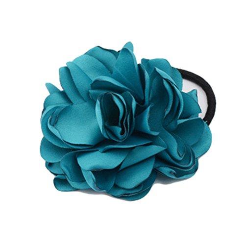Women Ponytail Holder Hair Ties with Fabric Camellia Flower Rope Ring Ties JA90 (Laker Blue) (Lakers Costume)