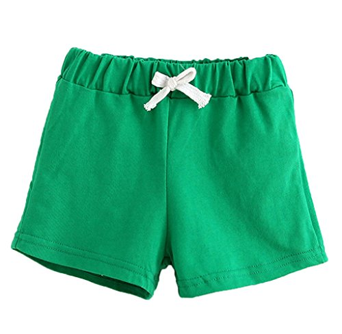 Mapletop Summer Kids Cotton Shorts Boys Girls Shorts Candy Clothing Shorts Baby Clothing (2T, Green)