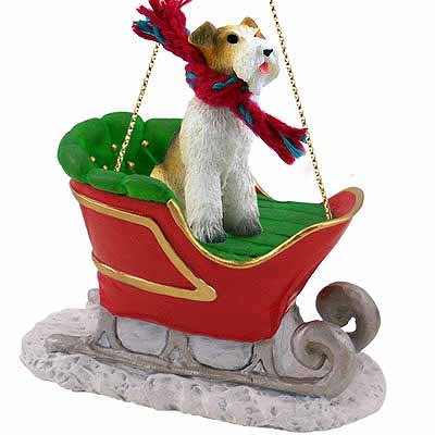 Wirehaired Fox Terrier Sleigh Christmas Ornament