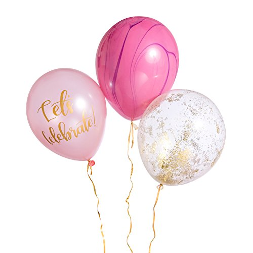 Ling's moment 12IN Composite Design Balloons: 3 Balloons(Pink Marble, Purple, Translucent) Latex Balloons Birthday Party Decoration and Events by ling's moment