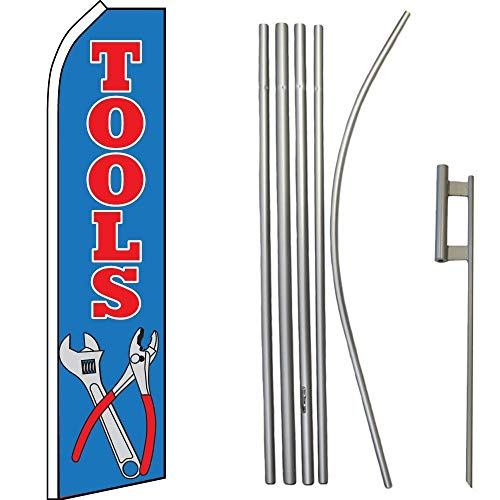 ALBATROS Tools Blue Yellow Swooper Flag with 16ft Flagpole Kit/Ground Spike for Home and Parades, Official Party, All Weather Indoors Outdoors