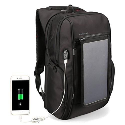 hitsan 15.6inch al aire última intervensión panel solar mochila de viaje con cargador USB impermeable bolsa de...