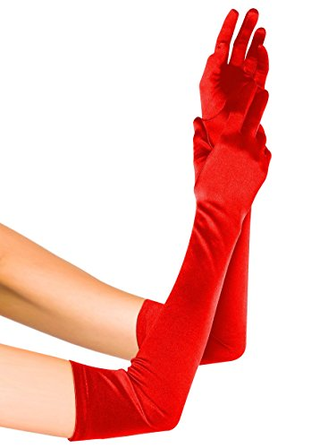Fasker Womens Satin Evening Gloves 21'' Long Party Dance Elbow Length Opera Gloves - Red Elbow Length Gloves