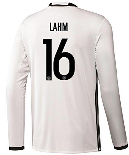 聖歌最大化する適格Adidas LAHM #16 Germany Home Soccer Jersey Euro 2016 - Long Sleeve (Authentic name and number of player)/サッカーユニフォーム ドイツ 長袖 ホーム用 ラーム 背番号16 Euro 2016