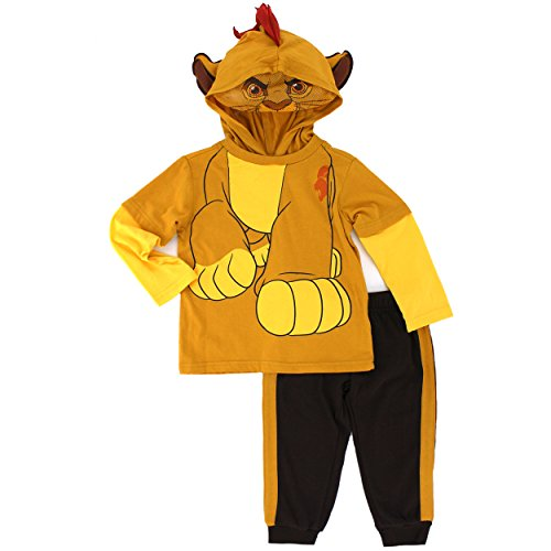 Disney Baby Boys' 2 Piece Kion of the Lion Guard Costume Hoodie with Mesh Mask and Fleece Pant, Brown, (Lion Costume 2t)