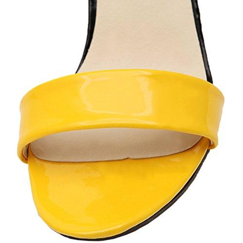 HooH Mujer Sandalias Peep Toe Stiletto Multicolor Mariposa Zapatos de tacón Amarillo