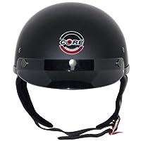 Core Cruiser Shorty Half Helmet (Flat Black, Medium) by Core