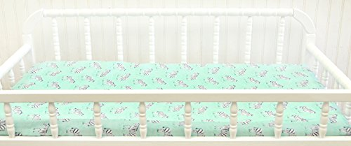 New Arrivals Changing Pad Cover, Zebra Parade in Mint by New Arrivals