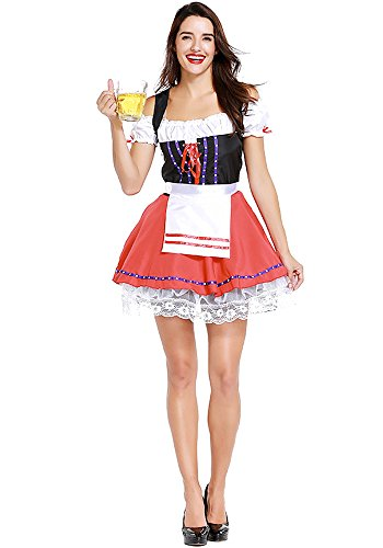 Xfentech Dames Dirndl Robe, Costumes Traditionnels Bavarois, Costume Cosplay Halloween, Costumes Oktoberfest Allemand