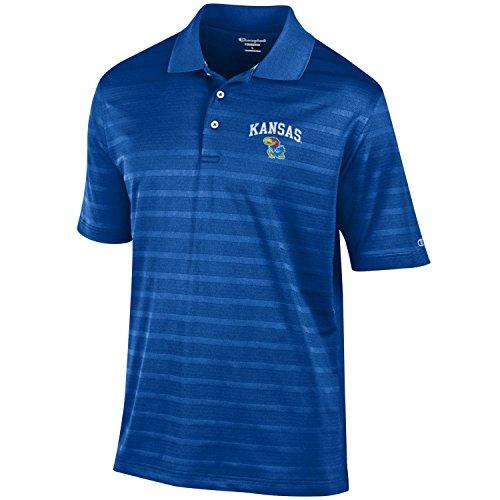 (NCAA Champion Men's Textured Solid Polo, Kansas Jayhawks, Small)