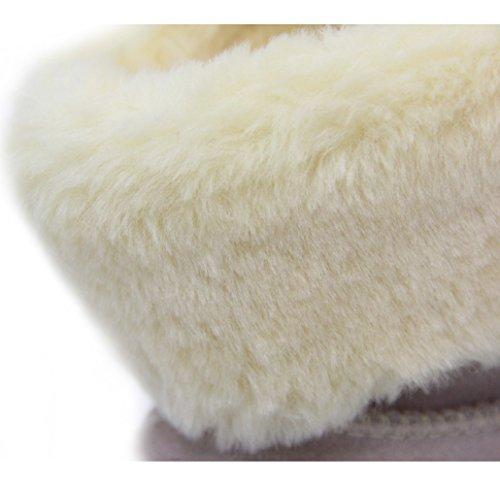 Fransen Lydc Londen Dames Echt Leer Suede Laarzen Warme Zachte Winter Laarzen Slip Lus Gevoerd Te Koop Lederen Schoenen Beige Fray