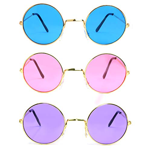Skeleteen John Lennon Hippie Sunglasses - Pink Purple and Blue 60's Style Circle Glasses - 3 Pairs - http://coolthings.us