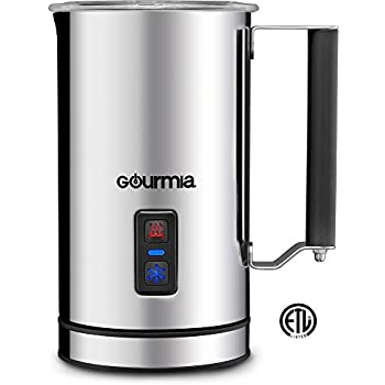 Gourmia GMF215 Cordless Electric Milk Frother & Heater, 3 Function, Detachable Base For Easy Serving, Stainless Steel, Non-Stick Interior For Easy Cleaning