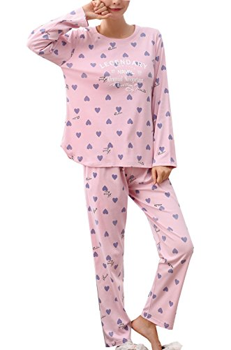 Young Girls Fashion Long Sleeve Tee & Pants Pajamas Set 10-18year by Leisure Home