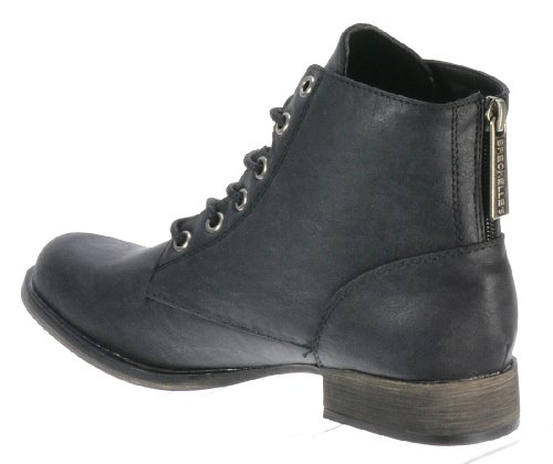 Breckelles Women's Georgia-43 Faux Leather Ankle High Lace Up Combat Boots, Black, 8.5