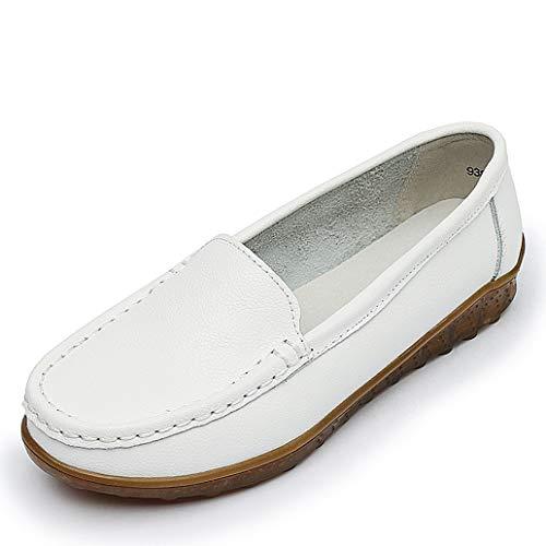 (York Zhu Women Leather Ballet Flats White Black Casual Shoes Round Toe Slip on Flats)