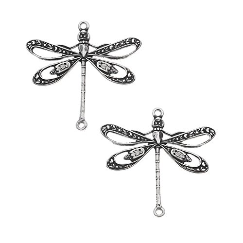 Dragonfly Silver Plated (Antiqued Silver Plated Dragonfly Connector 23.5x24mm (2 Pieces))