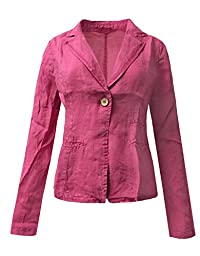BEKDO Womens Loose Fit Ramie Open Front Single Button Boyfriend Blazer -L-PINK