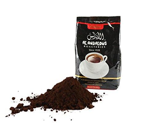 The Andalous Legitimate Roasted Lebanese Coffee. From Tripoli, Lebanon. 500 Grams. 1.1 Lbs. 17.6 Ounces. Fine Freshly Ground Turkish Rage Medium Roast Arabica Coffee.